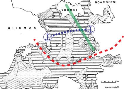 Joonis 1. Väinamere põhjasetted (Kiipli ja Lutt 1993). Markeriga sodis meelevaldselt Aivo Averin. Punane markerjoon tähistab Palivere servamoodustiste levikut Väinameres. Roheline marker märgib Rukkirahu (ja tema lähiümbruse) ning Vormsi liustiku(lõhe)list päritolu kruusasid-liivasid. Sinine kribu-krabu tähistab laevateed ja sadamaid.