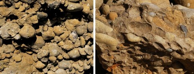 Joonis 2. Sambalaadselt tsementeerunud liiva-kruusalasundid A) Lasila karjääris (Foto: Maris Rattas) ja B) Matsi karjääris (Foto: autor teadmata).