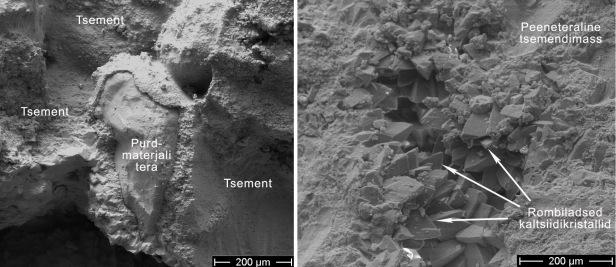 Joonis 4. A) Karbonaatne tsement täitmas pooriruumi purdmaterjali terade vahel. B) Peeneteralise tsemendimassi üleminek suuremateks kaltsiidikristallideks.